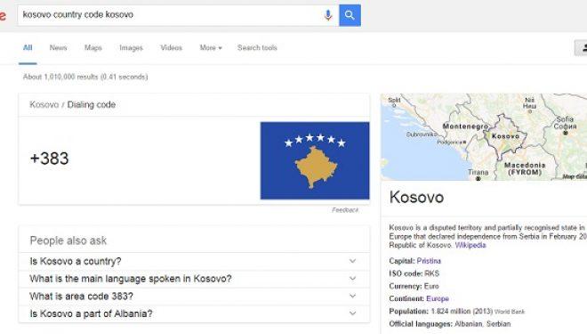 Google e njeh kodin telefonik të Kosovës +383 (Foto)