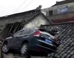 Del nga rruga e drejt në çati të shtëpisë (Video)