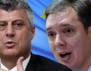 Pamje nga takimi i përbashkët i Thaçit me Vuciqin (Video)