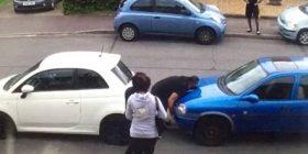 Ia kishte bllokuar veturën fqinji, kërkon ndihmën e nipit muskuloz që t'ia zgjidh problemin (Video)