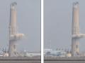 """Dy herë më i gjatë sesa """"Big Ben"""": Oxhaku 200 metra i termocentralit, shembet për pak sekonda nga një shpërthim i kontrolluar (Video)"""