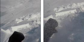 Filmoi veten duke skijuar në alpet franceze, befasisht rrëshqiti bora dhe u krijua një ortek i madh i borës – skiatori shpëton për një fije floku (Video)