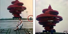 Çifti bashkëshortor e kuptojnë se 11 vite më parë kishin pozuar rastësisht në të njëjtin imazh, ende pa u njohur me njëri-tjetrin (Foto)