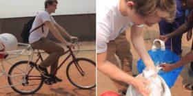 Vozitni biçikletën derisa të njëjtën kohë i lani rrobat, i gjithë procesi zgjat vetëm 10 minuta – dhe kurseni ujin (Video)