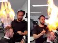 Njihuni me berberin turk, i cili në vend të gërshërëve përdor zjarrin (Video)