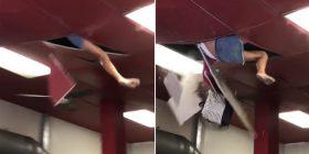 Gruaja bie nga tavani i restorantit pasi kërkonte të përdorte banjon (VIDEO)