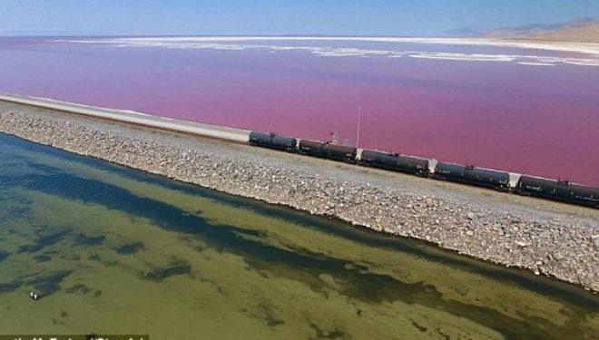 Liqeni i ndarë në mes ka ujëra me dy lloje ngjyrash, shkaku i nivelit të ndryshëm të kripës (Video)