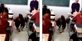 E zë duke përdorur telefonin e mençur në orë të mësimit, arsimtari kinez urdhëron nxënësen ta thyej me çekan (Video)