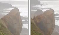 Shembet një pjesë e madhe e kodrës, kalimtarja e rastit filmon gjithçka (Video)