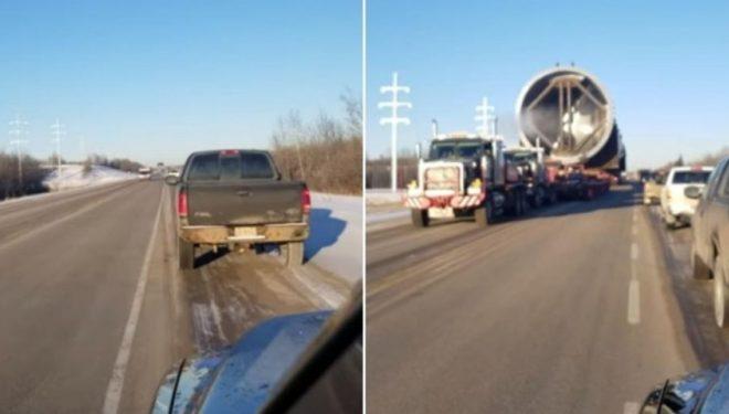 Dhjetëra kamionë të veçantë transportojnë gypin 800 tonësh dhe 96 metra të gjatë, krijohen kolona të gjata (Video)