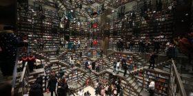 Libraria kineze me rafte të rrethuara nga shkallët (Foto)