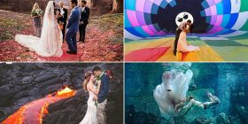 Nga puthjet nën ujë e deri te pozat afër llavës së vullkanit – imazhet e veçanta të çifteve (Foto)