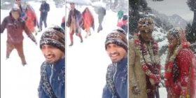 Dhëndri ecën 6 km në borë për të marrë pjesë në ceremoninë e tij të dasmës (Foto)