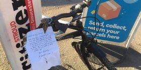 Biçikletën e ktheu me shënimin ku kërkon falje, pretendon se nuk e vodhi por vetëm e shfrytëzoi (Foto)