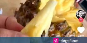 Forma re e prerjes së ananasit i ka befasuar të gjithë, shumë thjeshtë dhe lehtë (Video)