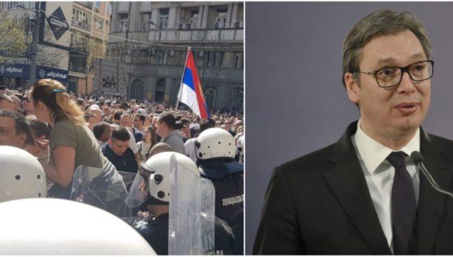 Protestuesit para Presidencës, Vuçiq thotë se nuk do të lejojë kërcënime përmes dhunës