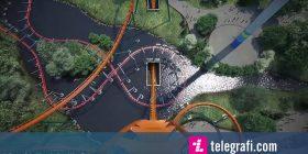 Simulimi i lëshimit në karuselin më të madh në botë, përfshirë pjesën vertikale të gjatë 75 metra (Video)