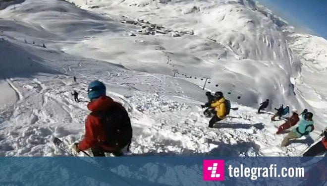 Skiatorët u lëshuan me sukses nëpër ortekun që e shkaktuan vet (Video)