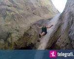 Lëshohen nëpër ujëvarat më të pjerrëta, çifti eksplorues nuk shpëton pa lëndime (Video)