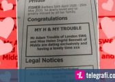 Njoftimi nëpërmjet gazetës, se një çift i ri janë ekskluzivisht në lidhje (Foto)