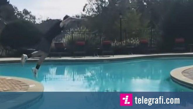 Rrotullimi i suksesshëm mbi një hapësirë të gjerë, deri në anën tjetër të pishinës (Video)