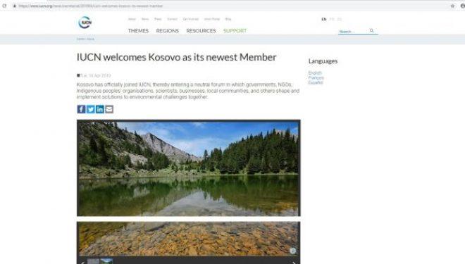 IUCN e mirëpret Kosovën si anëtare të tij të re