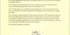 Thaçi, letër Trumpit për 4 Korrikun: I përkushtuar të arrijmë marrëveshje paqësore me Serbinë