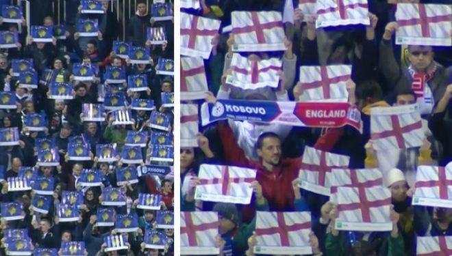 Emocionuese: Çfarë atmosfere në 'Fadil Vokrri' gjatë intonimit të himnit të Kosovës dhe Anglisë!