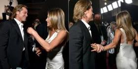 Brad Pitt dhe Jennifer Aniston flirtojnë para kamerave