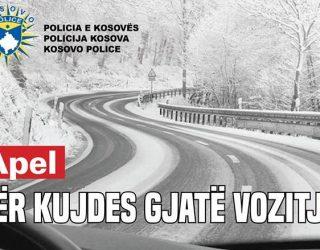 Reshjet e borës, Policia e Kosovës apelon për kujdes të shtuar në trafik