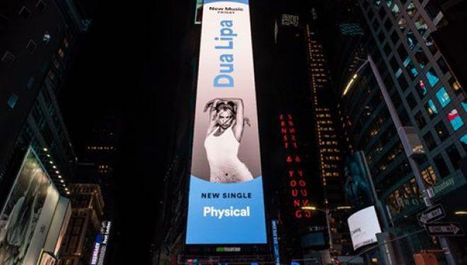 """Promovohet në ekranet gjigante të New Yorkut """"Physical"""" e Dua Lipës"""