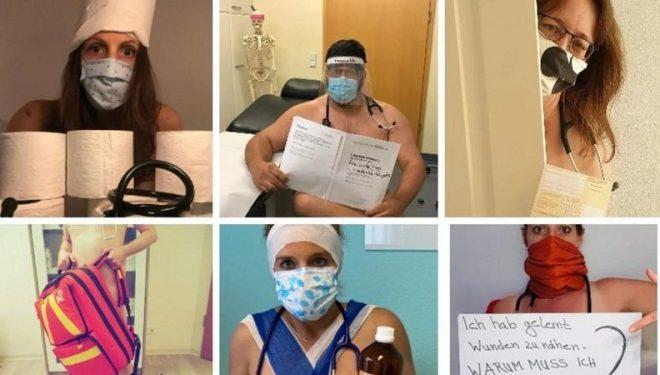 Mjekët në Gjermani vijojnë të pozojnë nudo në shenjë proteste për mungesën e mjeteve mbrojtëse (Fotot)