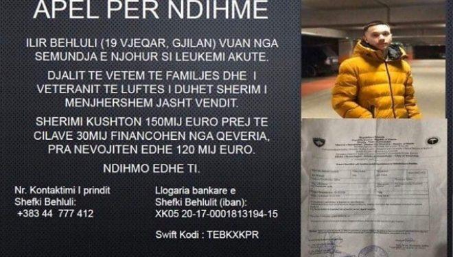 19-vjeçari Ilir Behluli vuan nga leukemia akute, ka nevojë për ndihmë