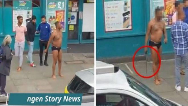 Burri i zhveshur del me shpatë në Londër, kalimtarët tentojnë ta çarmatosin – video