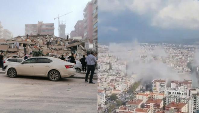Tërmeti i fuqishëm shemb pallatin në Izmir të Turqisë, dyshohet se ka persona nën rrënoja