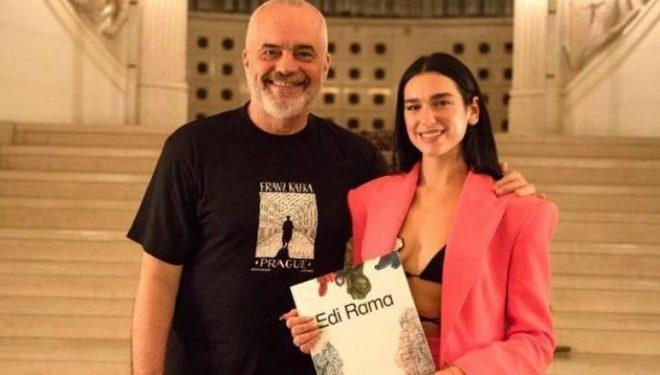 Befasi! Dua Lipa arrin në Tiranë, takohet me Edi Ramën