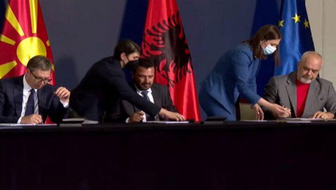 Nga lehtësia e barrierës së import-eksporteve deri tek lëvizja e lirë e njerëzve- Rama, Vuçiq e Zaev nënshkruajnë marrëveshjen trepalëshe